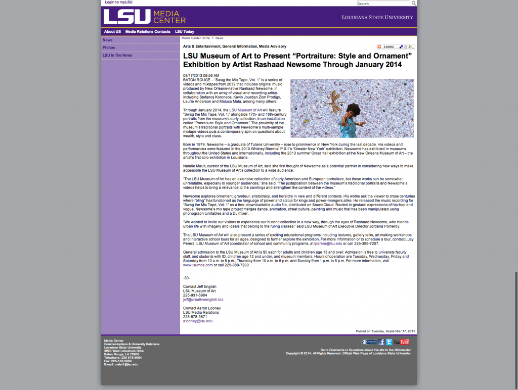 "LSU Museum of Art to Present ""Portraiture  Style and Ornament"" Exhibition by Artist Rashaad Newsome Through January 2014"